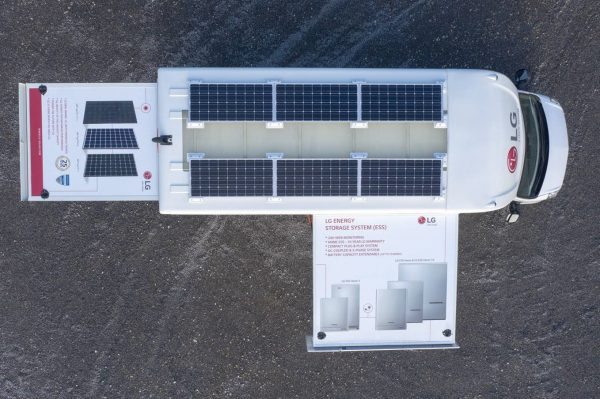 LG InfoWheels from above with solar panels